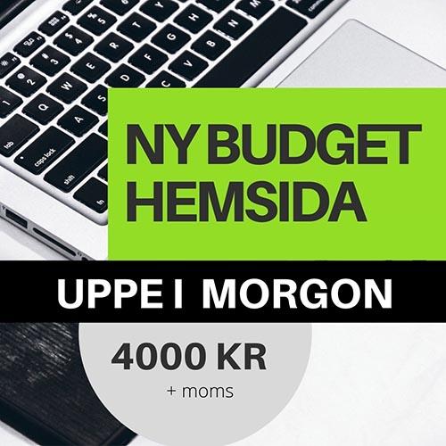 skylt som erbjuder ny hemsida för 4000 kr