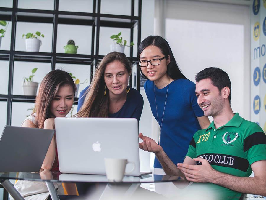 fyra personer ser på en datorskärm